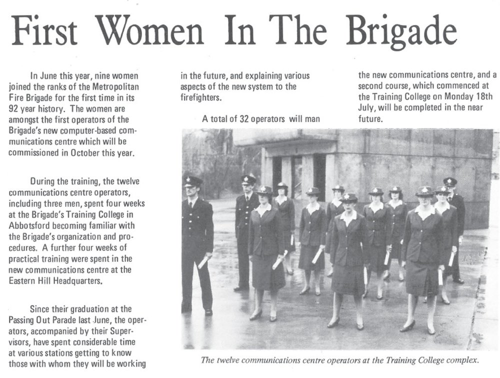 Newspaper reports on the historic occasion of the first graduation of women operatives said many of the firefighters felt that 'the girls added a bit of colour to the brigade'.