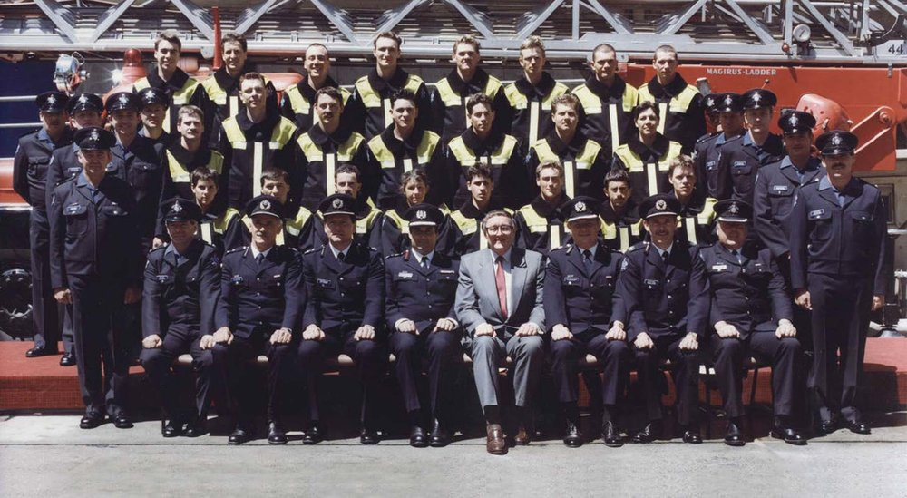 Michelle Field, Jacqui Segger and Virginia Forbes (née Bell) graduated from recruit course 70 in September 1988 as the first female firefighters in MFB history.