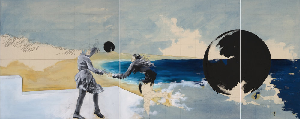Prologo (Per dopo la guerra II), 2014, oil and lack on canvas, 80x200.