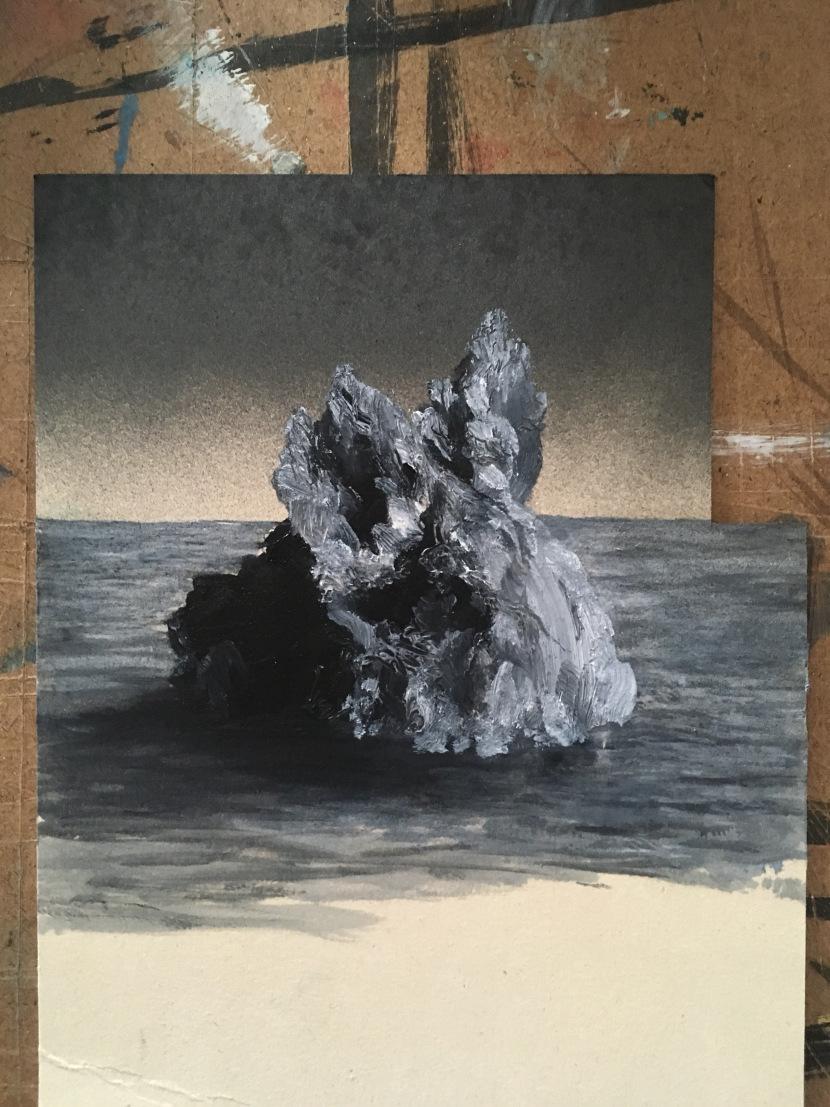 Studio per Scoglio di zinco, 2018, oil on cardboard, 30x20 (private collection).