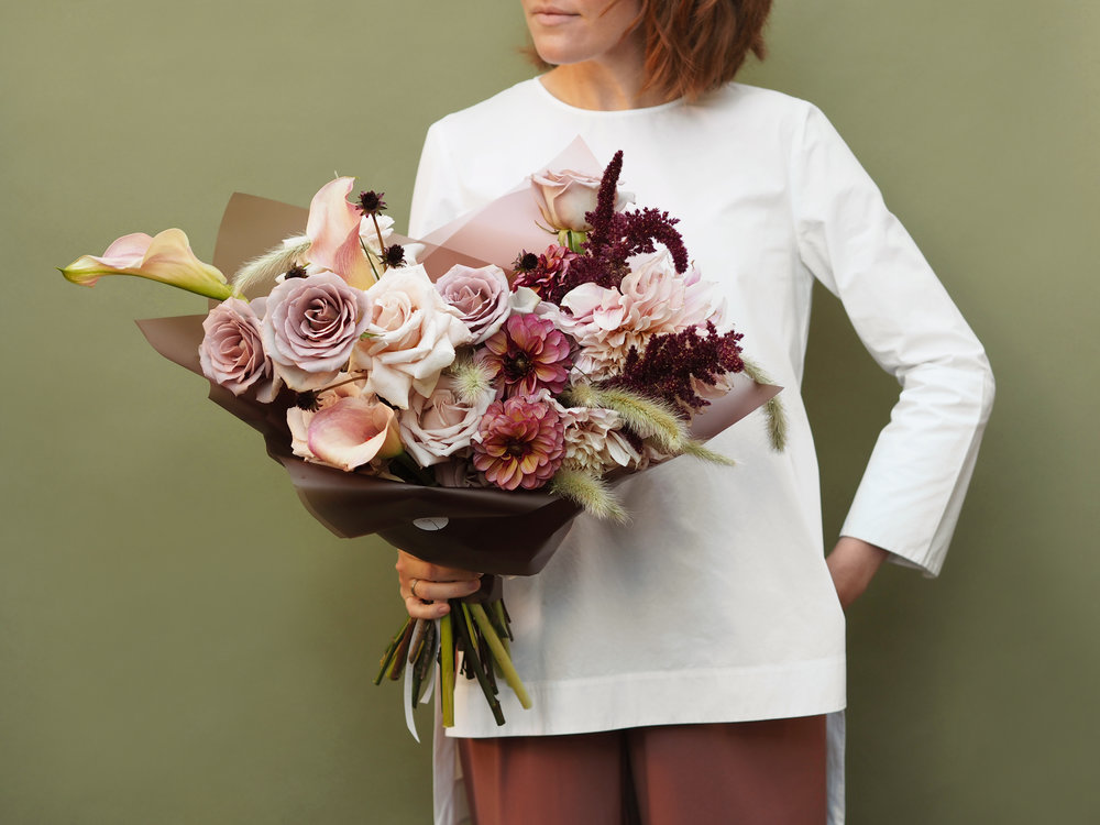No. 2 - A beautiful bouquet made with a selection of fresh seasonal flowers featuring a mix of Dahlias, Roses, Cosmos black beauty, Calla Lily and Amaranth.