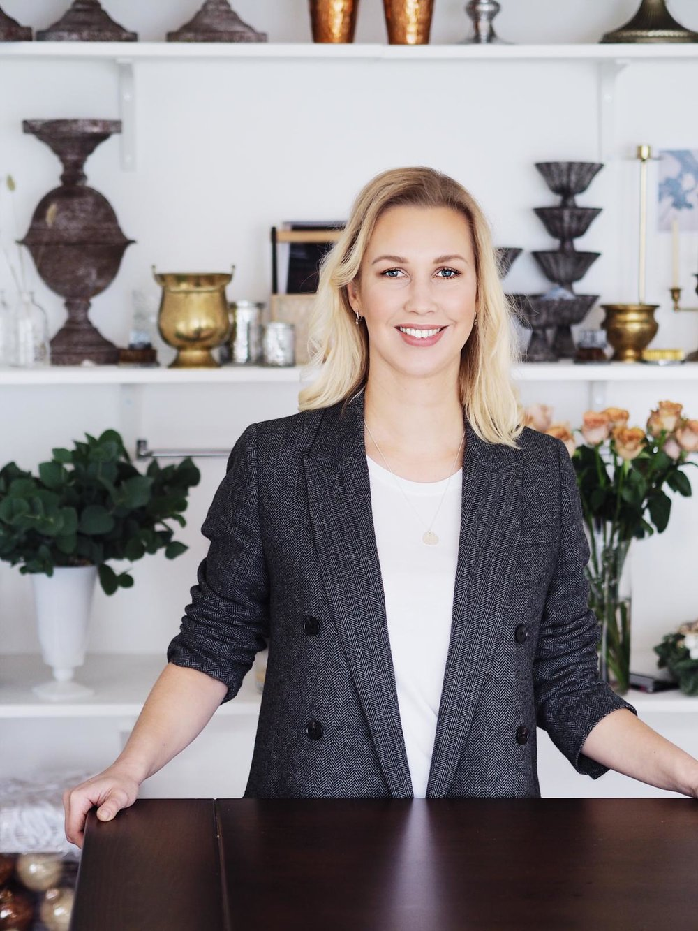 """Katerina - Co-Founder & General DirectorKaterina directs the operational side of the business, sourcing the finest floral merchants, engaging one to one with clients and ensuring Fine Stems exceeds your most discerning expectations. She met her business partner Kate through planning her own wedding 3 years ago. Together, they have been working both as friends and partners, constantly exchanging ideas, inspiration and new plans for Fine Stems.Katerina's approach to life is perhaps best described in Mary Anne Roadacher-Hershey's words: """"Live with intention. Walk to the edge. Listen hard. Practise wellness. Play with abandon. Laugh. Choose with no regret. Do what you love, and live as if this is all there is"""". Her children are her greatest inspiration and she loves fine food, good company, great music and a wonderful atmosphere… the occasional glass of wine is also on the list!"""