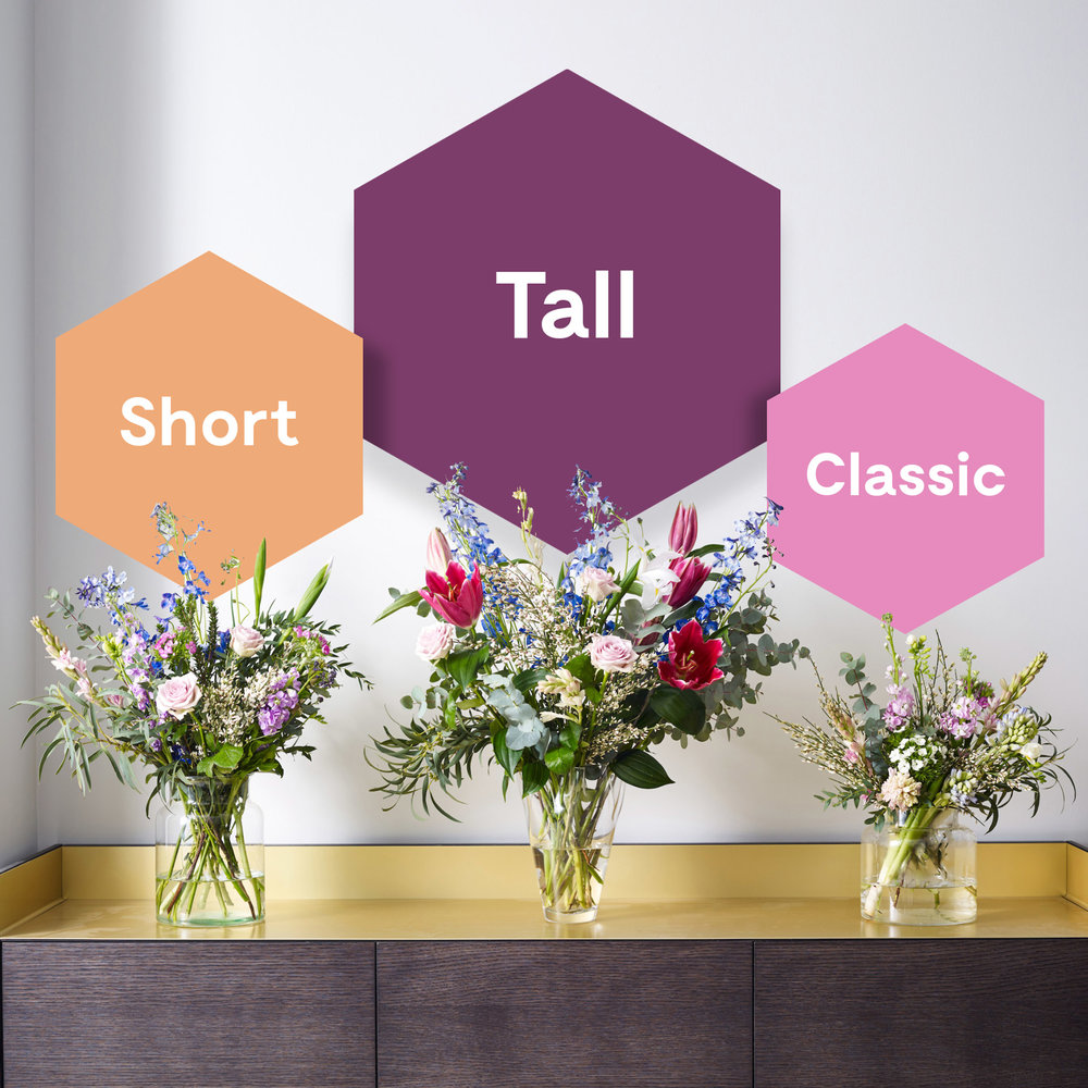 You choose your style and view your orders in advance - From our monthly stems we create three selections for you to choose from:The Tall, The Short and The Everyday. Each will have a different impact. Choose as many as you like to suit your home and plans during the month.Your style, your choice.