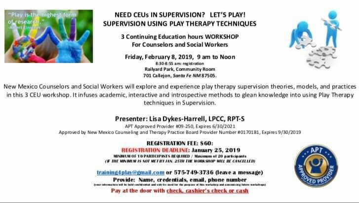 For more information please email training4play@gmail.com or call (575) 749-3736