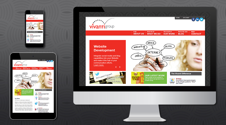 www.vivantigroup.com   Corporate Website for a marketing consulting firm based in Dallas, Texas. The site includes an extensive project portfolio, blog and colorful images and graphics throughout.