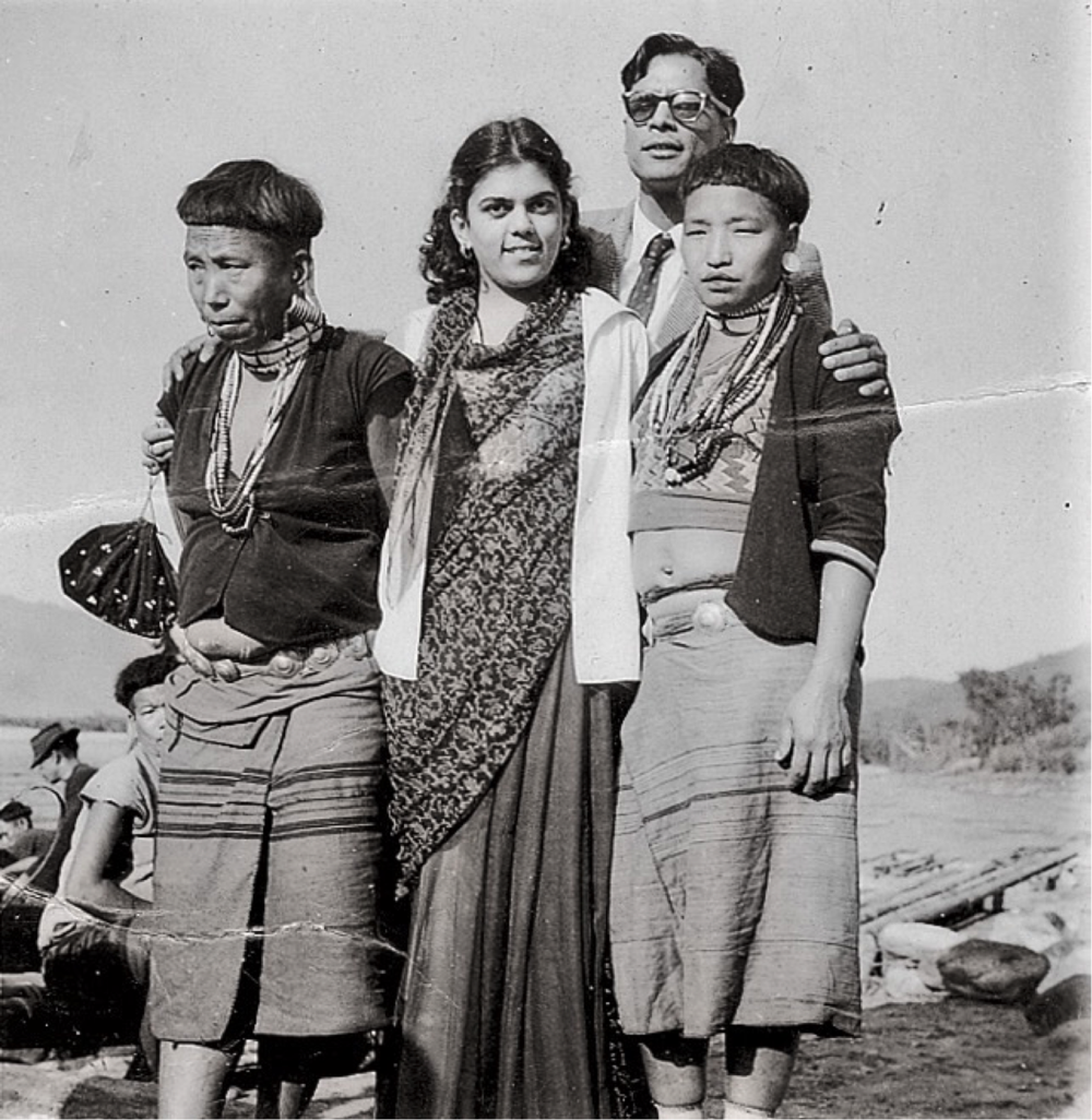 Sudha and KC in Pasighat with tribal Minyong ladies, 1957