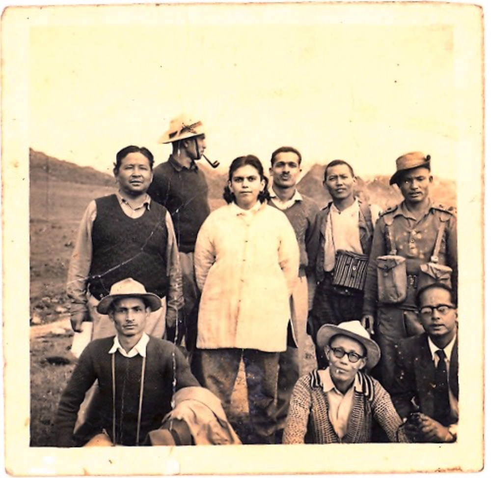 Sudha with Local officials at Bum-La pass, c. 1957