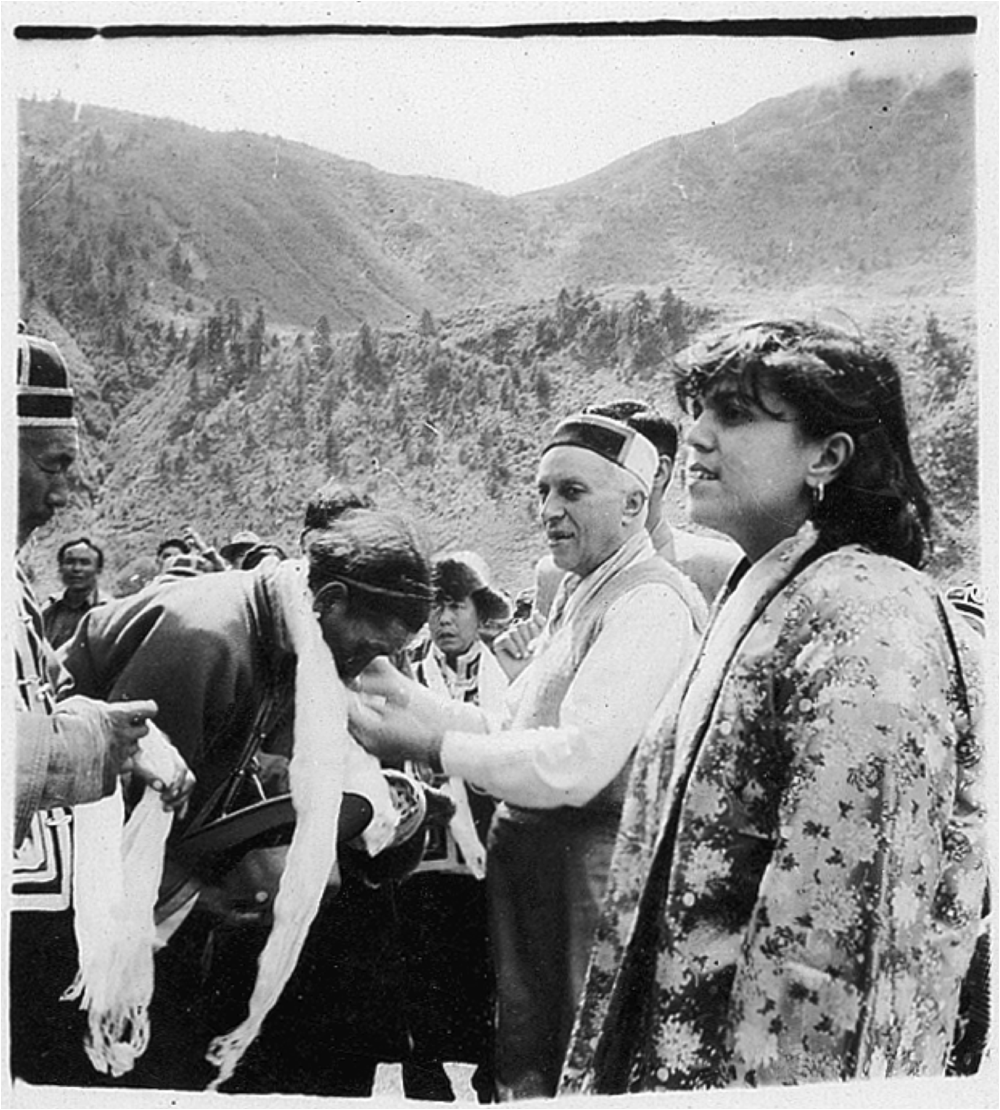 Sudha and Nehru in Yatung, c. 1958