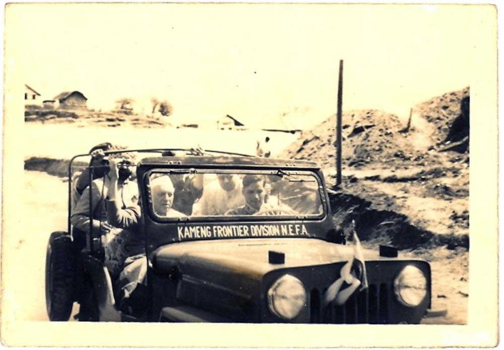 JC driving Nehru in Bomdila, c. 1961
