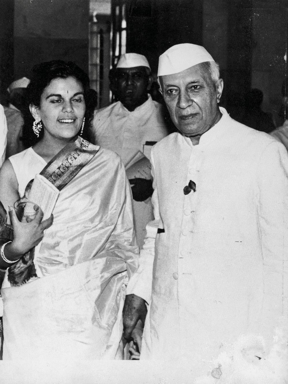 Sudha and Nehru at the Padma award ceremony, c. 1962