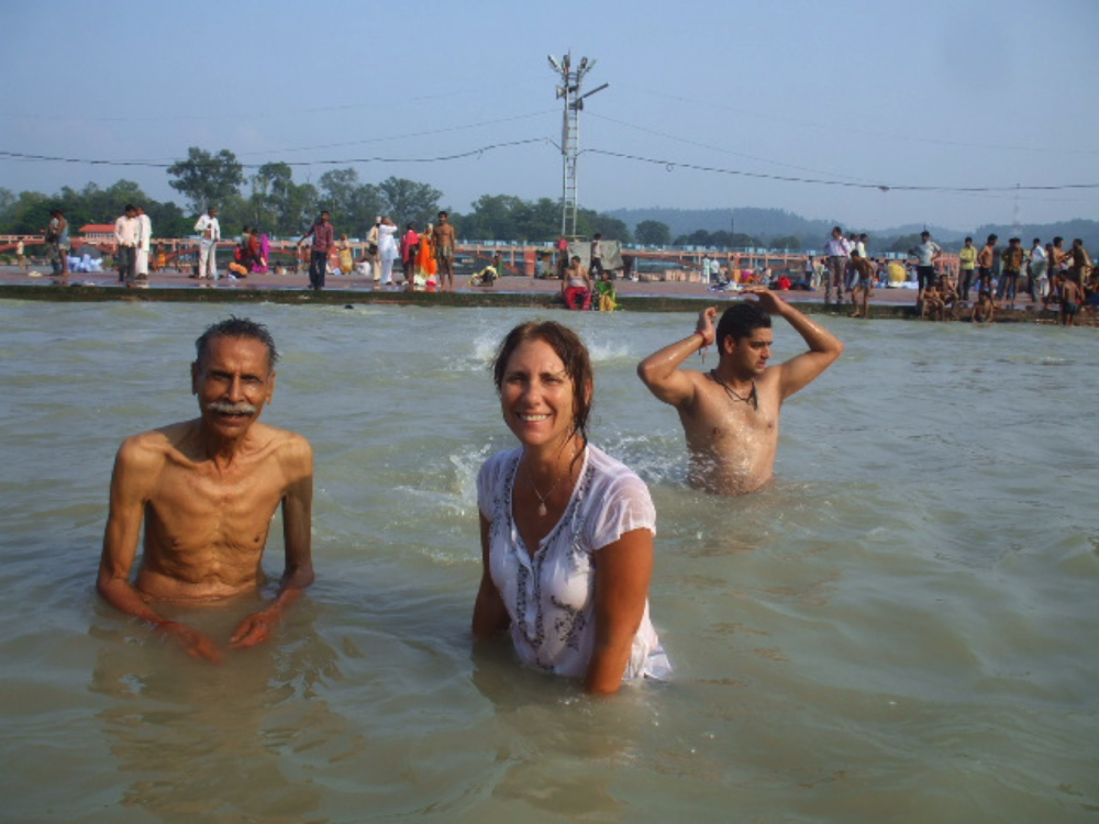 KC and Susan soak in the The Ganges River, 2016