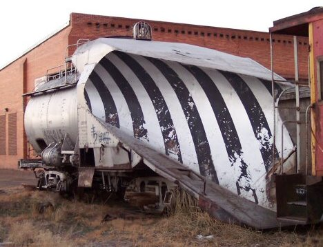 Union Pacific snow plow 900015 pictured in previous location in Laramie's West Side