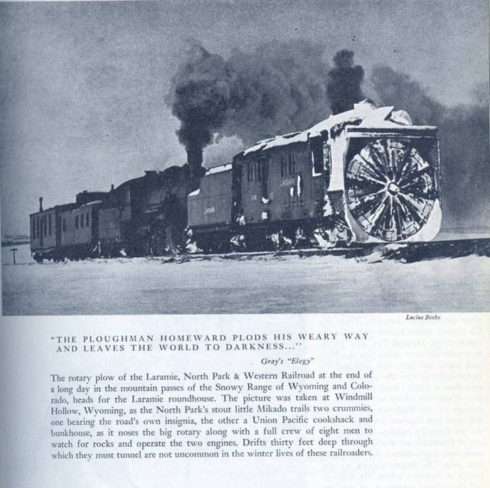 Photo of a train very similar to the one at Railroad Heritage Park.  The photo appears on page 159 of Lucius Beebe's  Highball:  A Pageant of Trains , Bonanaza Books, Crown Publishers, Inc., New York, 1945.  The undated photo was taken about 20 miles west of Laramie on the way to Centennial.