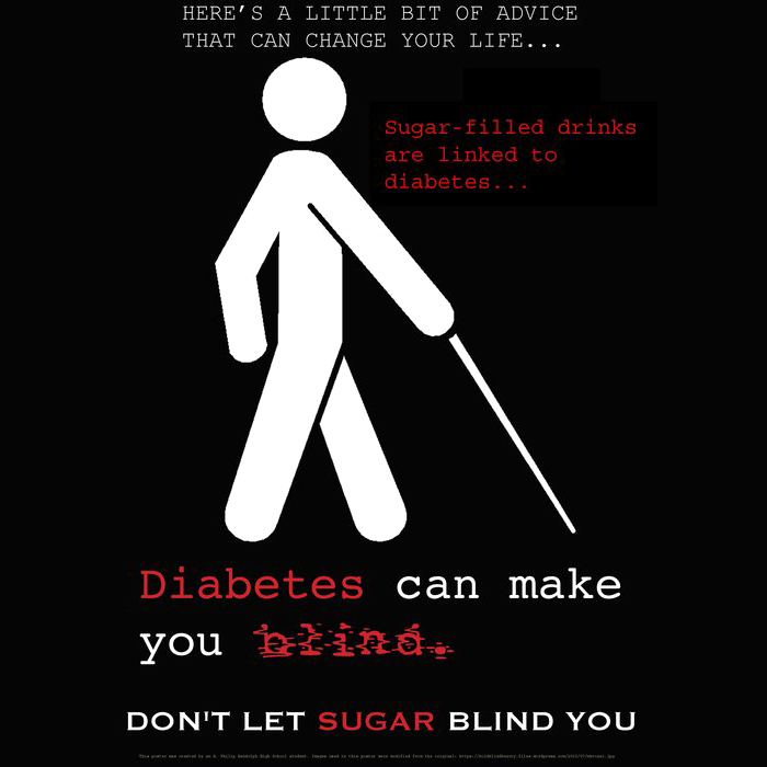 Image created by a student from A. Philip Randolph Highschool that targets sugary beverages and discusses the link between sugary beverage intake, diabetes, and blindness.