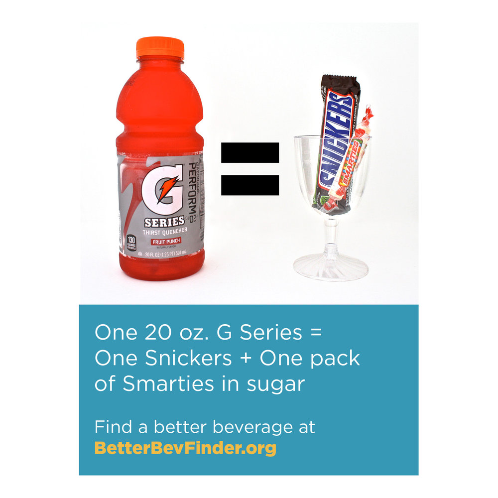 Image from Howard County Unsweetened depicting how drinking Gatorade is like eating candy.
