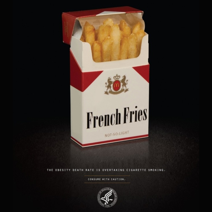 Photo retreived from www.nextnature.net that depicts how unhealthy diets are now a greater threat to global health than tobacco.