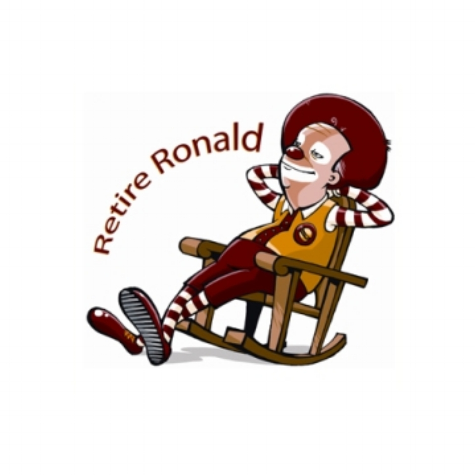 Image from Corporate Accountability's Retire Ronald campaign, which advocated for Ronald McDonald to be removed from McDonald's marketing.