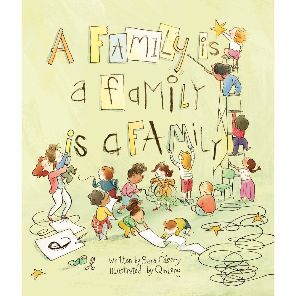a family is a family is a familyby sara o'leary - When a teacher asks the children in her class to think about what makes their families special, the answers are all different in many ways -- but the same in the one way that matters most of all.As one by one, her classmates describe who they live with and who loves them -- family of every shape, size and every kind of relation -- the child realizes that as long as her family is full of caring people, her family is special.