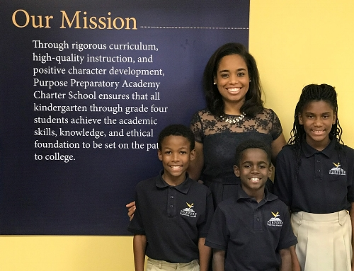 Purpose Preparatory Academy Founder Lagra Newman with some of her students.