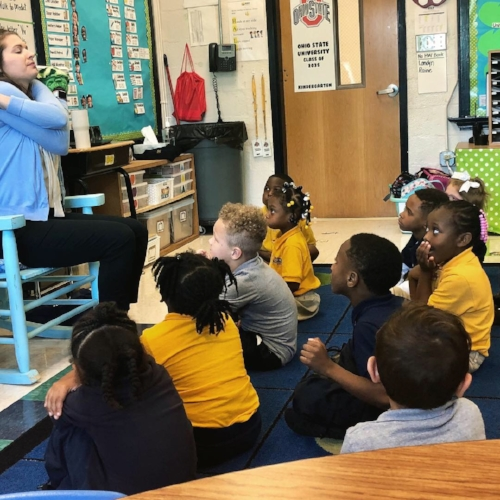 Tori Rokicki teaches a whole-group social-emotional learning lesson to a kindergarten class.