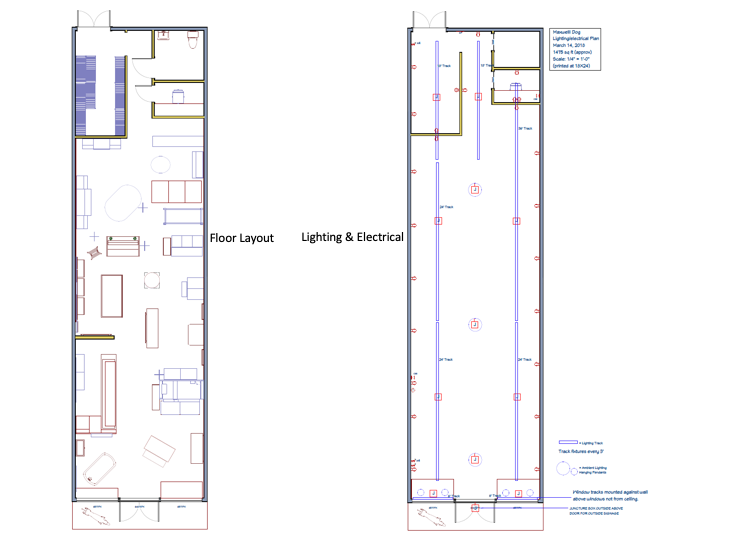Floor layout and lighting and electrical plan