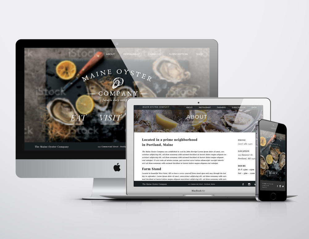 """Maine Oyster Company - Desktop, Tablet, & Phone Template DesignsThis project was presented to me as a blank slate. The owner had a specific """"General Store Chic"""" vision for the brand, which I helped him build from the ground up. We started with the logo design, narrowing down fonts and layout before diving into other details. From there I created business cards, flyers for the two locations, a 4'x6' wall map, and eventually conceptualized a responsive web design."""