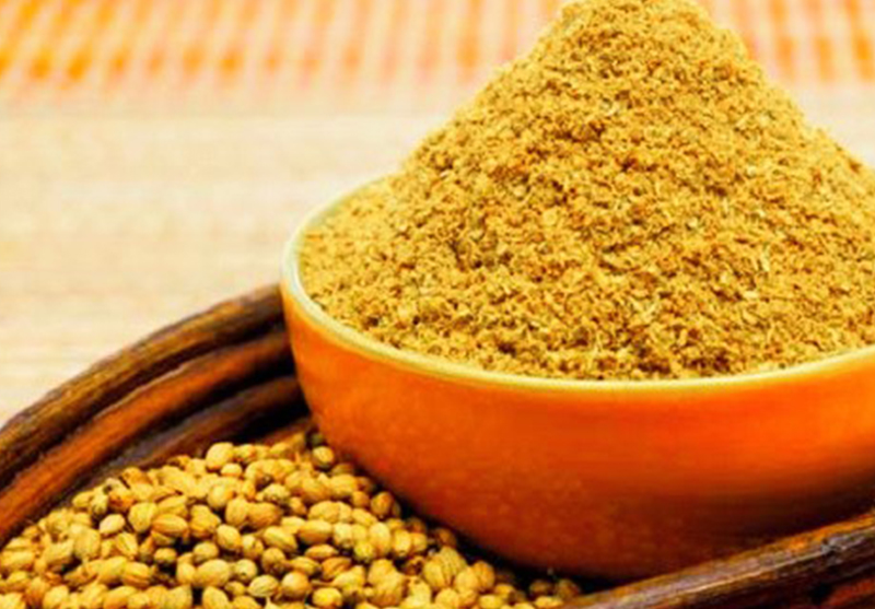 Coriander Powder - Coriander powder is grounded from coriander seeds and is an essential condiment in the Indian cuisine. It has a pleasant aroma and a savoury taste. It helps lower bad cholesterol levels and increases the levels of good cholesterol. Available in bulk & for private label with customized packaging.