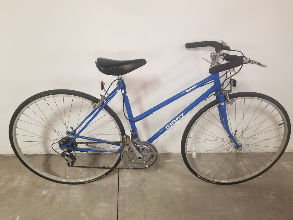 "Giant Cabriolet step-thru 15"" - Used Bike modified for commuter style flat bars. Fun bike to get around town.$200 (on sale from $225)"