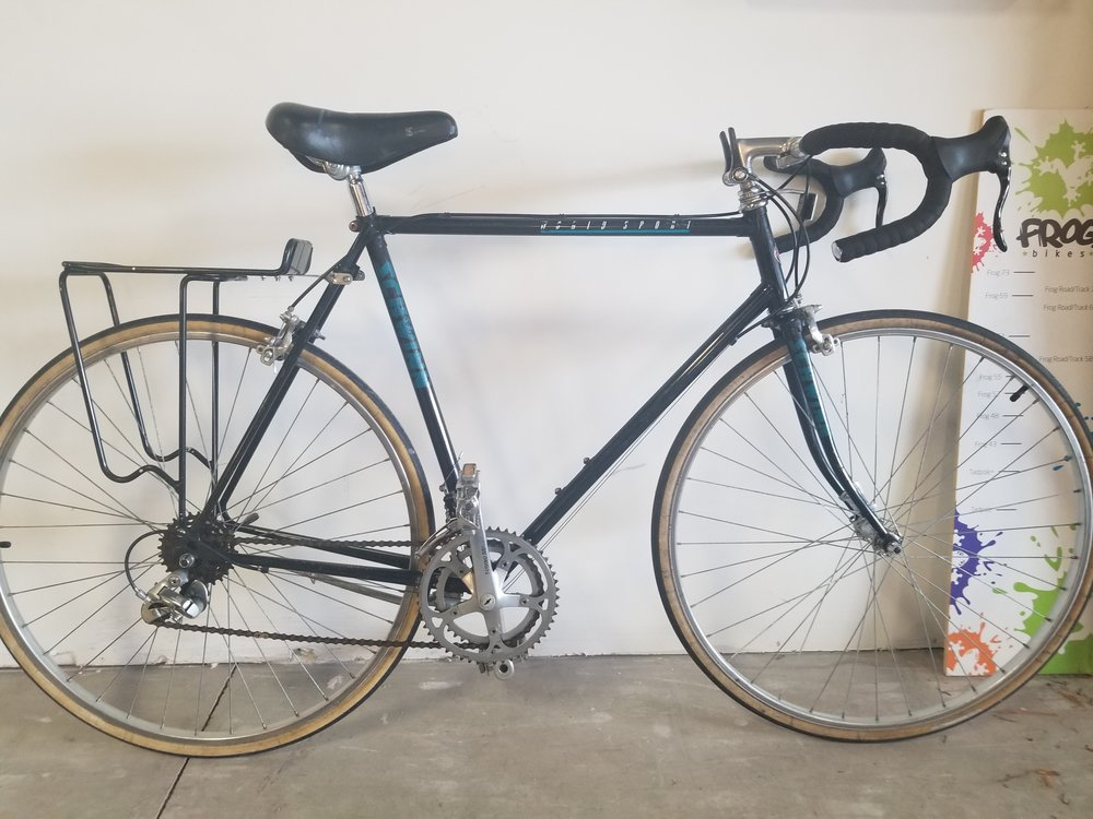 schwinn worldsport road bike 60cm - Used bike. Tune-Up. 2x6 drivetrain. Includes rear rack. 60cm.Great starter commuter bike!$150