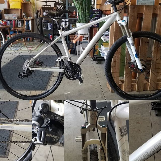 "Consignment Bike of the Day. Just got this Gary Fisher Dual Sport 17.5"" tuned up with fresh Derailleur cables and housing. With disc brakes. Fox front suspension fork and can do. Slick or knobby tires this is a great commuter bike on and off the road and trails. $450"