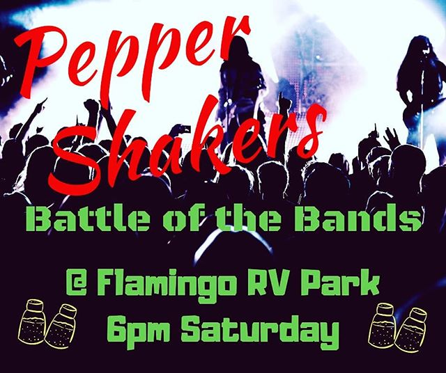 Come out support your Pepper Shakers as we compete on a BATTLE OF THE BANDS! This Saturday 6pm @flamingolakeRVpark off of 295• • • #live #music #band #lights #sound #songs #Flamingo #RVpark #JaxFl #novgigs #pepper #shakers #battle #bands #musicdays