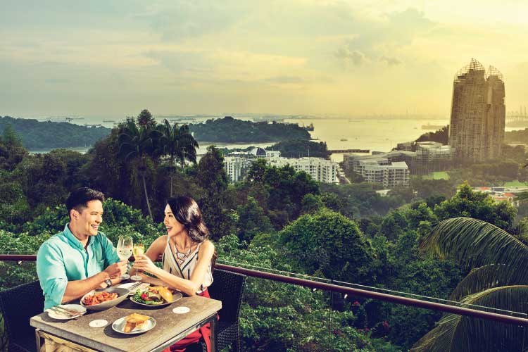A Relaxed Date in the Garden - Excite your date with the panoramic views of the harbour, Sentosa & Faber Peak as you both enjoy a romantic 4-course menu of Beef Tenderloin and Pistachio-crusted Salmon Fillet while basking in the tranquillity of the rainforest hillside. Take a walk in the garden and ring the century-old Bell of Happiness!Operation Hours on 14th Feb: 11am - 2.30pm & 6pm - 11pm