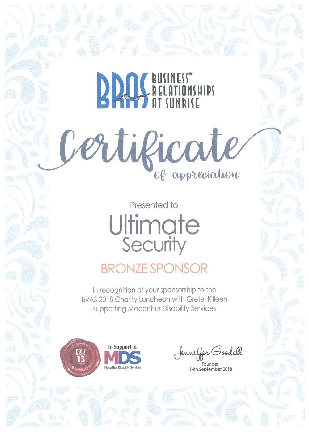BRAS 2018 Charity Luncheon supporting Macarthur Disability Services