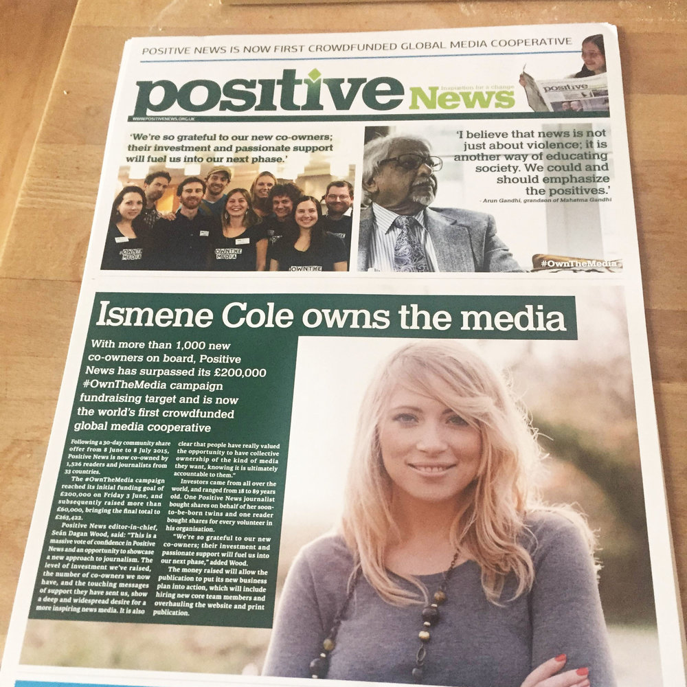 "- ""I'm now the proud co-owner of Positive News. Media has a huge impact on how we feel and what we believe- about ourselves, others and the world around us. So when an opportunity to invest in Positive News became available, I knew I wanted to get involved and join many others to become co-owners. I feel passionate about being part of changing the way we report on world events and positively inform people. Not only will this have a direct impact on individuals, but society as a whole.""#OwnTheMedia • Positive News"