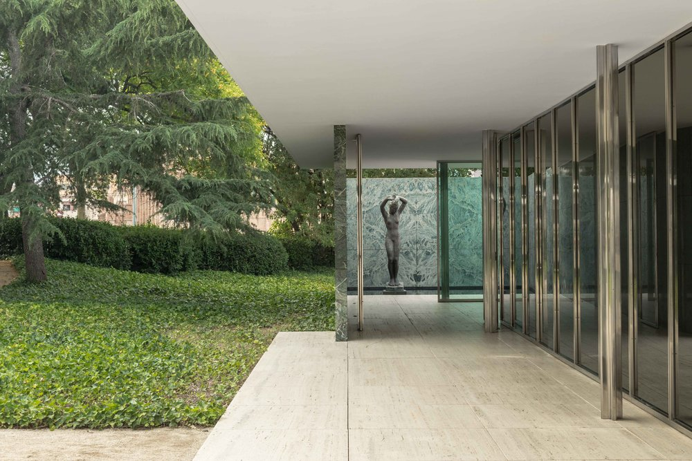 Architectural photograph series of the Barcelona Pavilion. Modernist German Pavilion for the 1929 International Exposition in Barcelona, Spain. Designed by architect Ludwig Mies van der Rohe. By Daniel Walker Photography