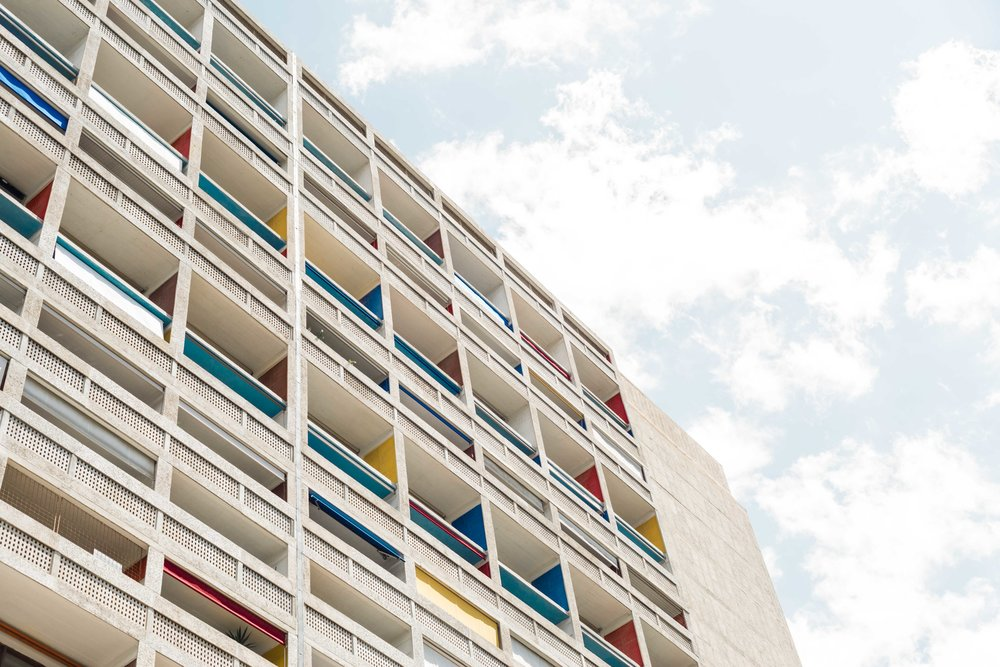 Architectural photograph series of Unité D'habitation. Modernist apartment complex in Marseille, France. Designed by architect Le Corbusier and built between 1947 and 1952. Façade. By Daniel Walker Photography