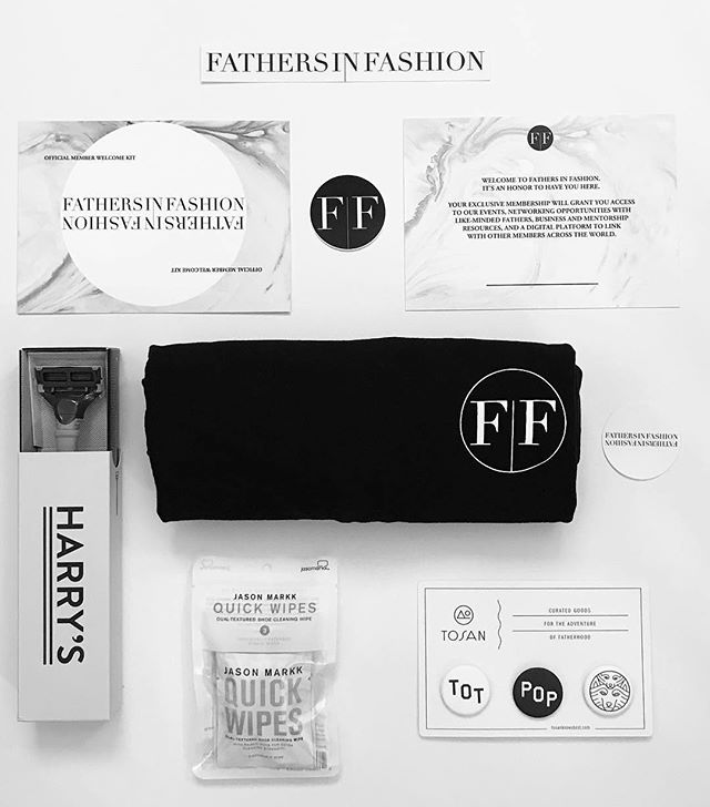 Introducing our 2019 FIF Member Welcome Kit. Official welcome card + stickers, exclusive logo tee in collaboration with @richhoneyapparel, pop + tot button pack in collaboration with @tosanknowsbest, @jasonmarkk quick wipes to keep your kicks clean, and @harrys bestselling razor to keep your shave clean 〰️ #FIFwelcomekit