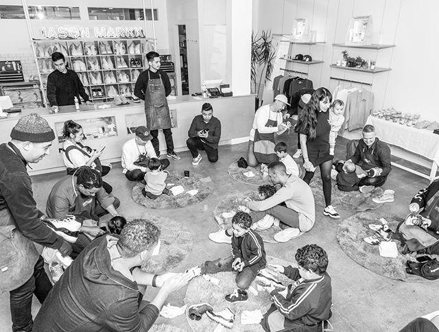 Dad-and-mini sneaker-cleaning workshop with @jasonmarkk 👟 (📸 @davidcoephoto)