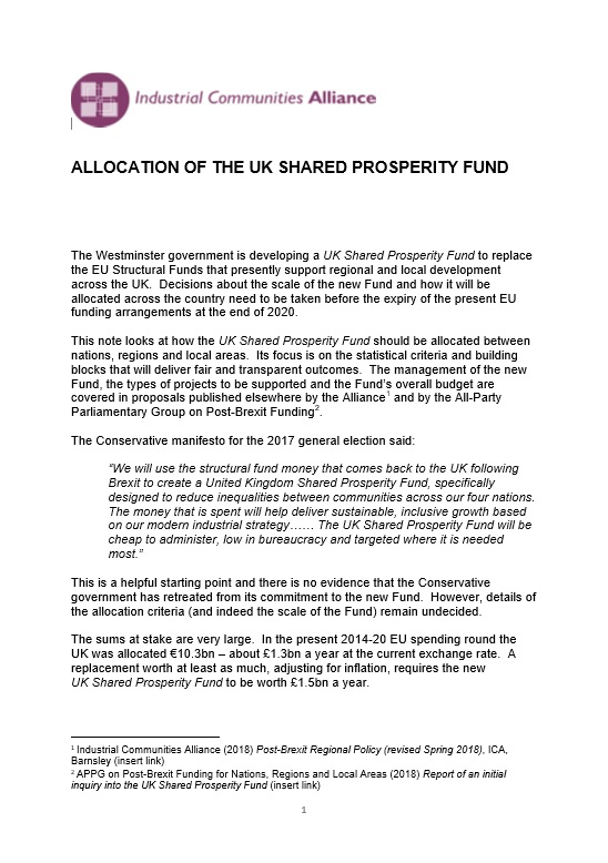 Allocation of the UK Shared Prosperity Fund