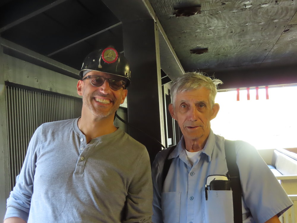 Claudio and Arnold one of the lovely guides at the Beckley Exhibition Coal Mine