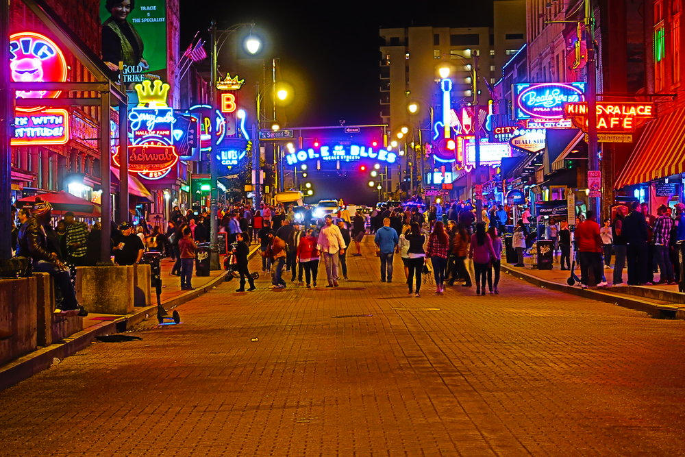 Walking in Memphis, on Beale Street.