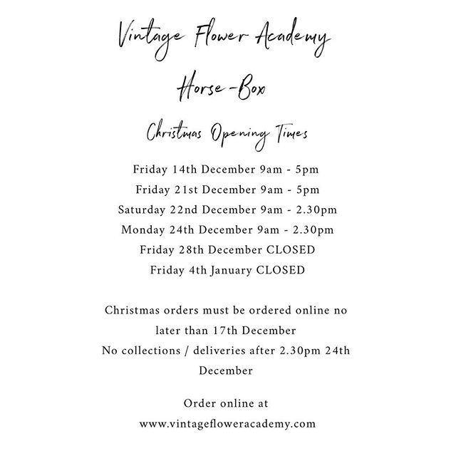 Christmas Opening Hours....few changes to accommodate family commitments, please get any Christmas orders in online by 17th December 🖤#VFA #christmasflowers #smallbusiness #wokingham #flowerdelivery #berkshire #florist