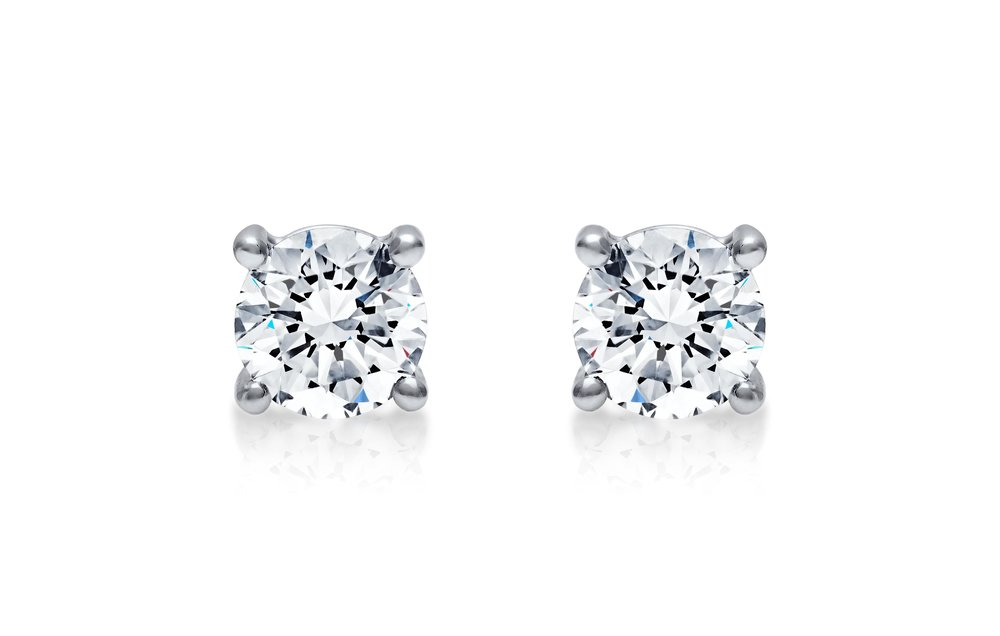 Diamond Studs - The four claw diamond stud earring is an elegant choice for occasional or everyday wear. We recommend these as the perfect little addition to any bridal outfitView now