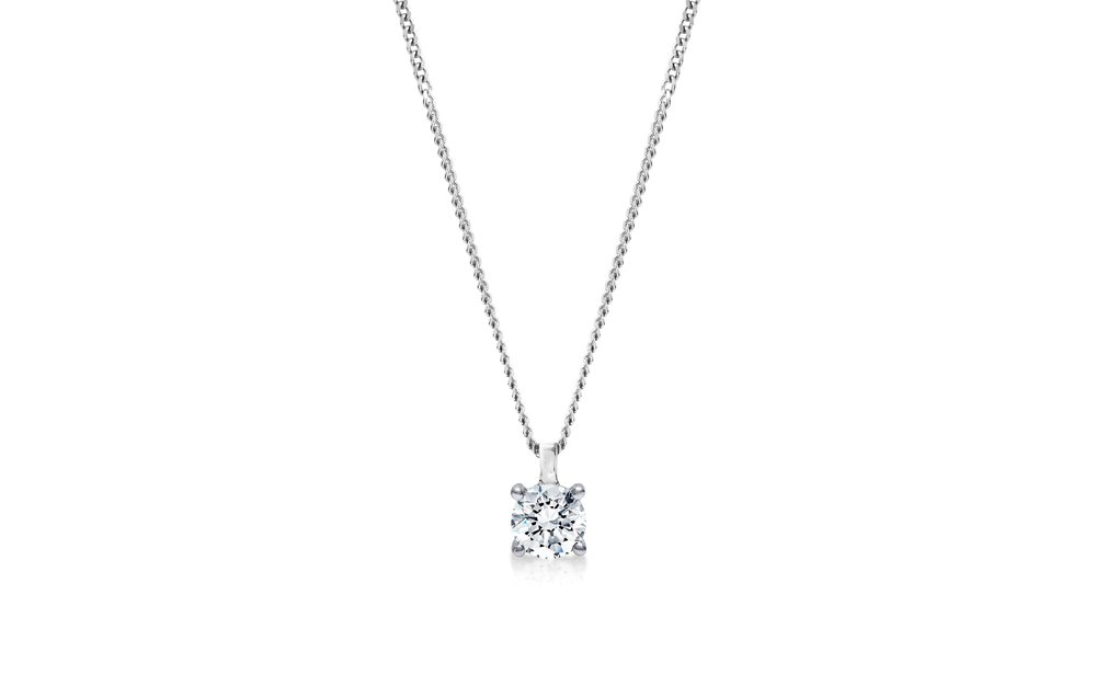 Diamond Pendant - Complete the bridal jewellery set with a timeless single stone diamond pendant. With varying chain lengths, this classic pendant is the perfect compliment to any necklineView now