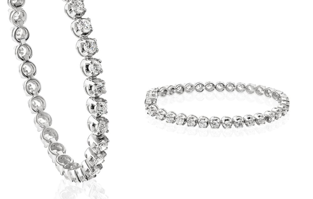 Tennis Bracelet - The tennis bracelet is an iconic piece of luxury. A bold and brilliant line of claw-set diamonds amass the classic diamond lace, which follows the curves of your wristView now
