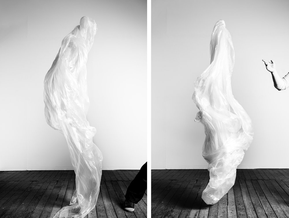 Plastic drop cloths are reformed into   Casts     plainly thrown into the image frame. This thin membrane usually lies in stasis to protect surfaces from accumulations over a span of time. In my hands, the material is animated, evoking the gesture of the hand that threw it.   Cast III  and  X,  2014  Archival pigment prints 34 x 28 (left) and 34 x 26 (right) inches