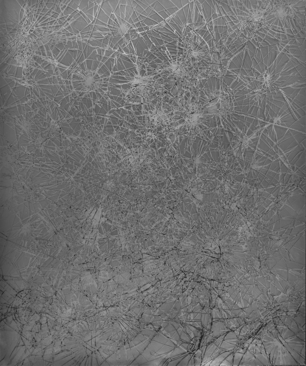 Fusings   are solarized photograms made with safety glass that was repeatedly broken and flipped as the image was exposed. Trace ruptures in the surface of the image are visible, physical evidence of their making.    Fusing VII   ,  (2015)  Solarized photogram  24 x 20 inches