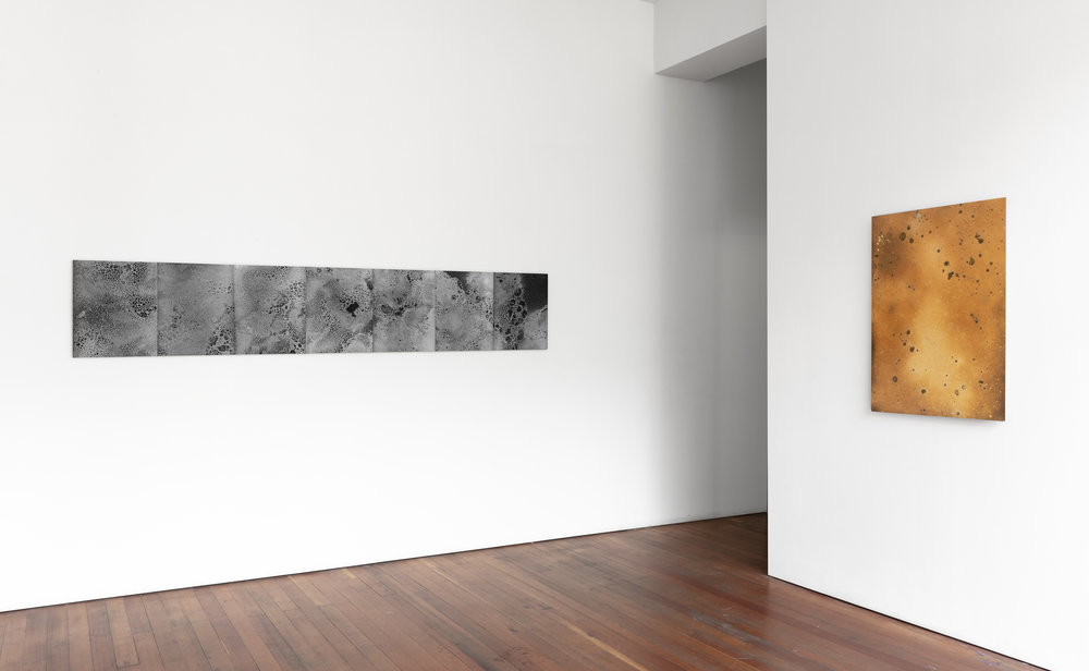 Jennifer Brandon & Andréanne Michon: Colliding    Installation view, SF Camerawork   Dilations  (left), 2019   Dispersion III  (right), 2019