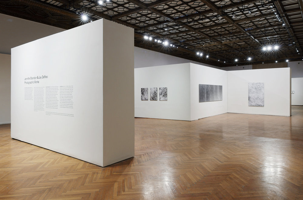 Jennifer Brandon & Jay DeFeo: Photographic Works    Installation, Mills College Art Museum, left to right:   Leaf IV  (triptych), 2016   ReCurrents  (A to E), 2017   Foil III,  2015