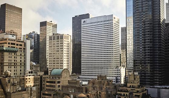 Exterior view of buildings in Midtown Manhattan.